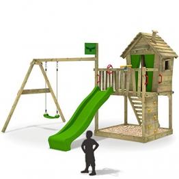 Spielhaus-mit-Rutsche-DonkeyDome-Holz