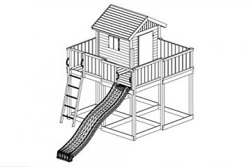 Spielhaus-mit-Rutsche-Space-XL-Holz